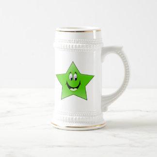 Smiling Green Star Beer Stein