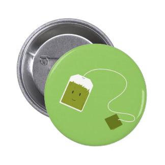 Smiling green tea bag pinback button