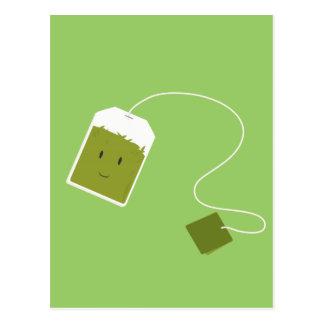 Smiling green tea bag postcard