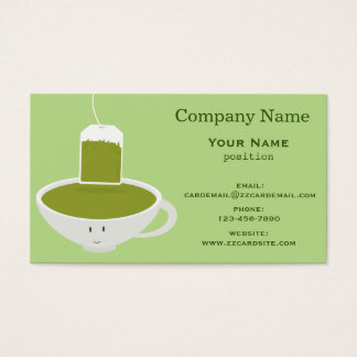 Smiling Green Tea Cup Business Card