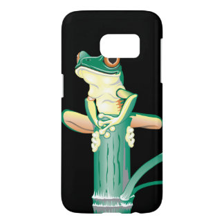 Smiling Green Tree Frog on Bamboo Samsung Galaxy S7 Case