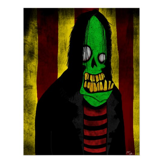 Smiling Green Zombie Poster
