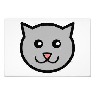 Smiling grey cat cartoon head art photo