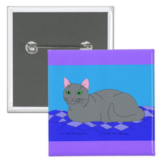 Smiling Grey Kitty 2 Inch Square Button