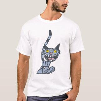 Smiling Grey Kitty cartoon T-shirt