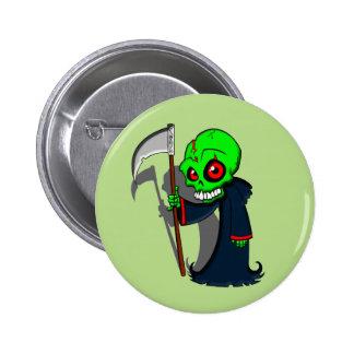 Smiling Grim Reaper Illustration Creepy Cool Button