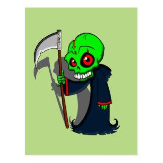 Smiling Grim Reaper Illustration Creepy Cool Postcard