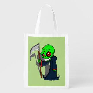 Smiling Grim Reaper Illustration Creepy Cool Reusable Grocery Bag