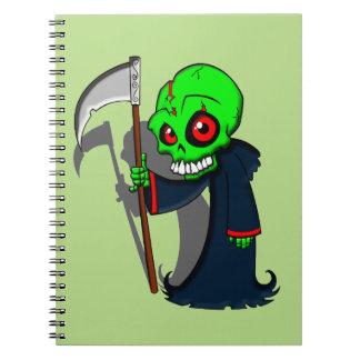 Smiling Grim Reaper Illustration Creepy Cool Spiral Notebook
