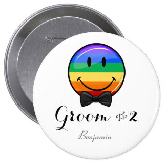 Smiling Groom #2 Gay Wedding Button