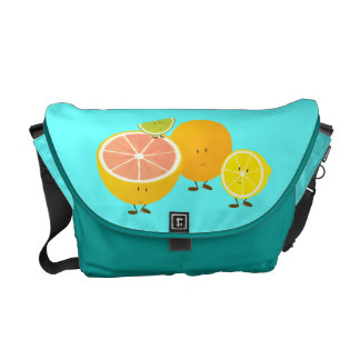 Smiling group of citrus characters courier bag