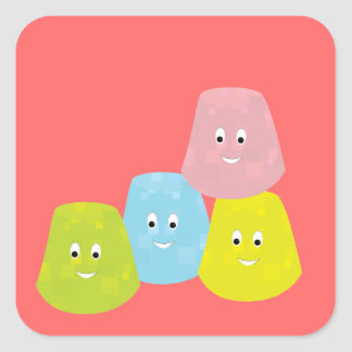 Smiling gumdrops square sticker