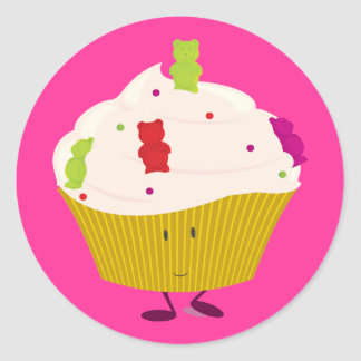Smiling gummy bear cupcake classic round sticker