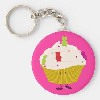 Smiling gummy bear cupcake keychain