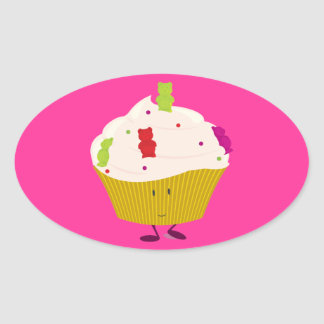 Smiling gummy bear cupcake oval sticker