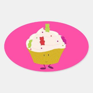 Smiling gummy bear cupcake oval sticker