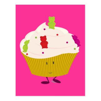 Smiling gummy bear cupcake postcard