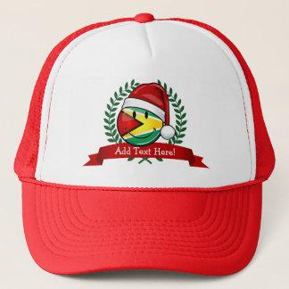 Smiling Guyana Flag Christmas Style Trucker Hat