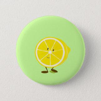 Smiling half lemon character button