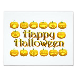 Smiling Halloween Jack-o-Lantern 4.25x5.5 Paper Invitation Card