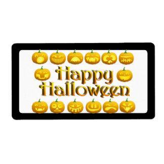 Smiling Halloween Jack-o-Lantern Shipping Label
