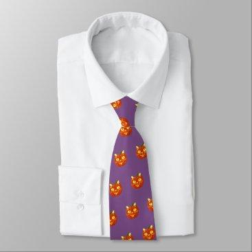 Halloween Themed Smiling Halloween Pumpkin Cat (purple) Tie