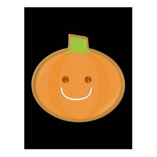 Smiling Halloween pumpkin cookie Postcard