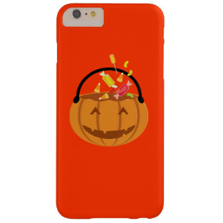 Smiling Halloween pumpkin filling with candy Barely There iPhone 6 Plus Case