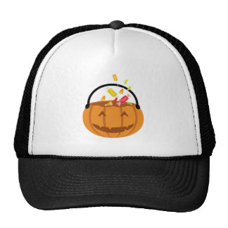 Smiling Halloween pumpkin filling with candy Trucker Hat