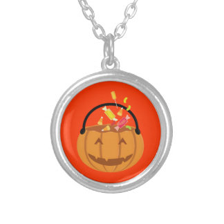 Smiling Halloween pumpkin filling with candy Silver Plated Necklace
