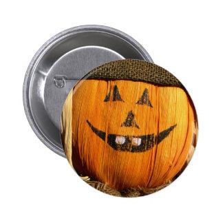 Smiling Halloween Pumpkin Scarecrow Pinback Button