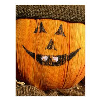 Smiling Halloween Pumpkin Scarecrow Postcard