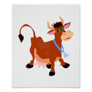 smiling happy cow poster