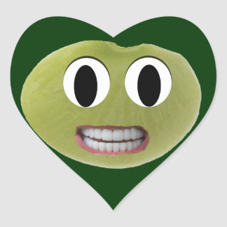Smiling Happy Lima Bean Heart Stickers