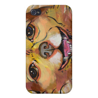 Smiling happy little dog fun art chihuahua chi pom iPhone 4 cases