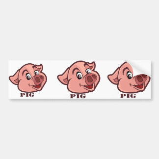 Smiling Happy Pig Face Bumper Sticker