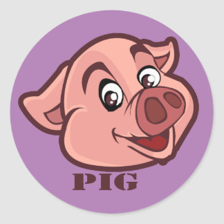 Smiling Happy Pig Face Classic Round Sticker