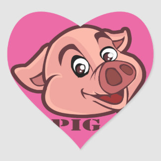 Smiling Happy Pig Face Heart Sticker