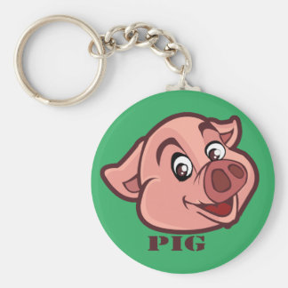 Smiling Happy Pig Face Keychain