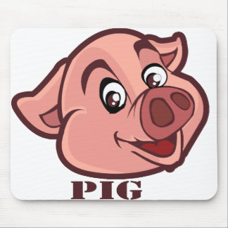Smiling Happy Pig Face Mouse Pad