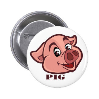 Smiling Happy Pig Face Pinback Button