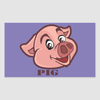 Smiling Happy Pig Face Rectangular Sticker