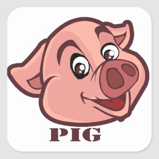 Smiling Happy Pig Face Square Sticker