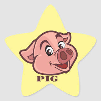 Smiling Happy Pig Face Star Sticker