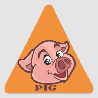 Smiling Happy Pig Face Triangle Sticker