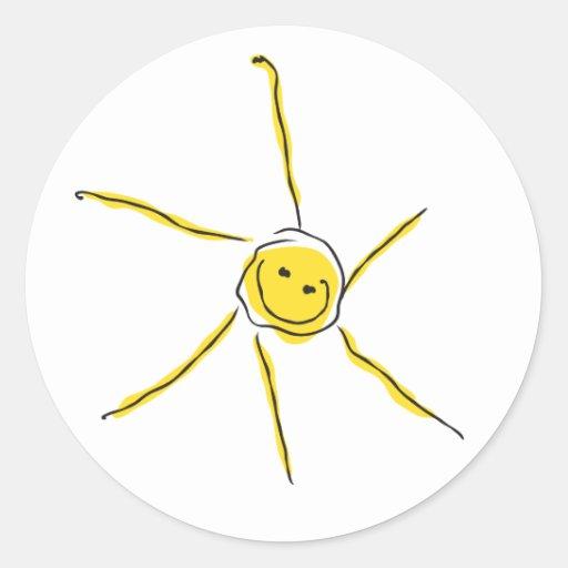 Smiling happy sun round sticker