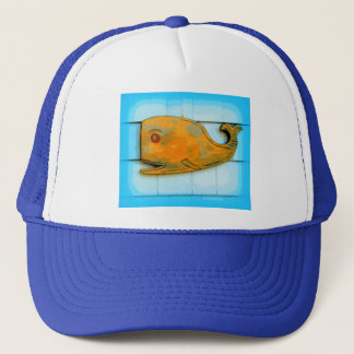 smiling happy whale trucker hat
