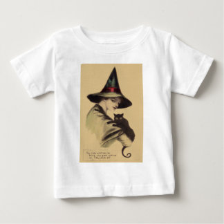 Smiling Happy Witch Black Cat Baby T-Shirt