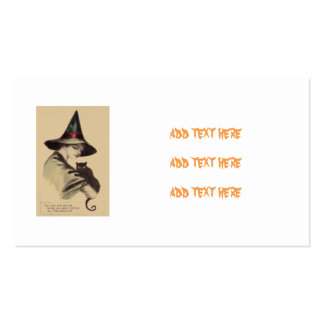 Smiling Happy Witch Black Cat Business Card