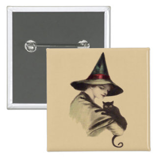 Smiling Happy Witch Black Cat Button